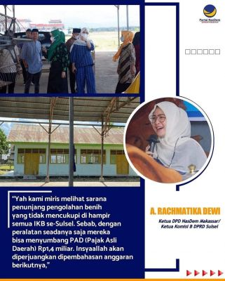 Ketua DPD Nasdem Makassar Heran Sarana Pengolahan Benih Tidak Mencukupi