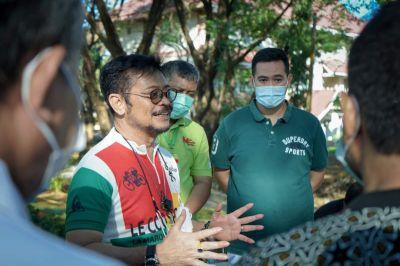 Menteri Pertanian SYL Olahraga Bersama Bupati Pangkep MYL